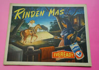 Mexican vintage cardboard sign Eveready Flashlight Battery Rancho Scene 1960s