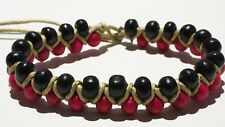 Medley Red & Black Beaded String Bracelet Anklet Adjustable Boho Fashion Gift