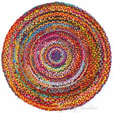 Colorful Woven Tassel Chindi Braided Area Decorative Rag Rug Indian Bohemian Acc