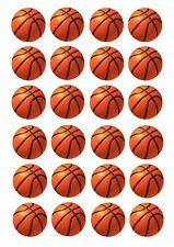 24 X Basketball Wafer Rice Paper Cupcake Toppers Edible Cake Decoration Sports