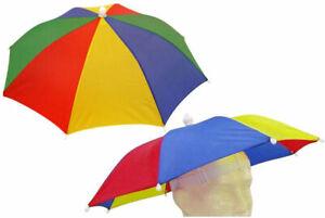 Multi-Coloured Umbrella Hat - Novelty Festival Rave Outdoor Foldable Cap Joke