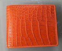 100% Genuine crocodile alligator skin leather bifold men orange wallet