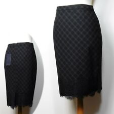 M&S Lace Trimmed KNEE Length PENCIL SKIRT ~ Size 12 ~ BLACK Check