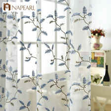 NAPEARL 1 Panel Embroidered Sheer Curtains Leaf Drapes for Living Room Hook Tape