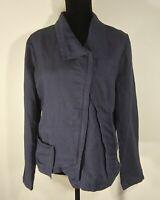 Stella Carakasi Women's Hemp Blend Lagenlook Asymetrical Zippered Jacket Size Lg