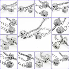 RUBYCA Silver Safety Chain Clips Lock Stopper Beads Fit European Charm Bracelet