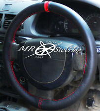 FITS FORD TRANSIT CONNECT 2002+ BLACK LEATHER STEERING WHEEL COVER + RED STRAP