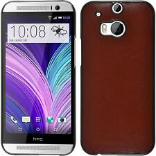 Silicone Case for HTC One M8 Leather Optics Brown Protective Foils