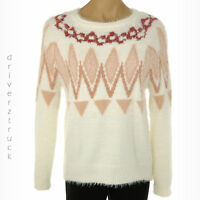 LAUREN CONRAD Women's XX-LARGE Fuzzy WHITE Peach FAIR ISLE SWEATER Raglan Sleeve