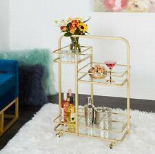 Mini Liquor Bar Rolling Cart Gold Metal Glass 3-Tier Wine Drinks Serving Barcart