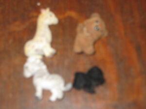 MEG SAFARI IN MY POCKET X 4 FUZZYCOAT PLAYFIGURES ZEBRA GIRAFFE BLACK BROWN BEAR