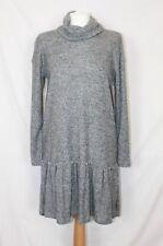 BNWT River Island Grey Knitted Long Sleeve Turtleneck Jumper Smock Dress UK 8