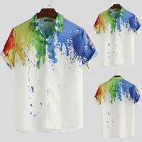 INCERUN Men's Hawaiian Printed Shirts Casual Holiday Beach Short Sleeve Stag Top