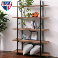3/5Tier Durable Bookcase Bookshelf Leaning Wall Shelf Shelving Ladder Storage