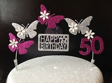 Pink & Silver Birthday Cake Decoration Glitter Butterfly Topper Arch & flowers