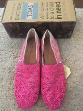 Toms - Womens Classic Crochet Slip-On Shoes In Fuschia Dip UK Size 10