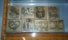 1999 Stampin' Up! Retired set of 8 wood mounted rubber stamps Feathered Friends