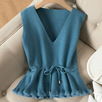 Women's Knitted Vest Tank Top Sweater Waistcoat Sleeveless V-neck Ruffle Blue