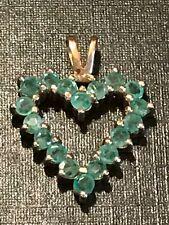 14 Karat Gold & Emerald Heart Shaped Charm Pendant