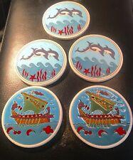 Smaltotechniki Coasters- Hand Made In Greece-Ceramik Vintage-Set Of 5-Nautical