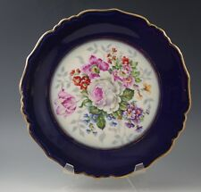 1930's LIMOGES FRANCE ROSE TULIP COBALT AND GOLD PLATE LUCIEN MICHELAUD -scarce