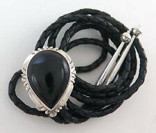 Sterling Silver & Black Onyx Teardrop Shaped Southwestern Bolo Tie