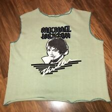 NEW Vtg 80s Green MICHAEL JACKSON Thriller Album SMALL Sweatshirt Tank Shirt NOS