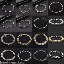 Punk Mens Boy Stainless Steel Bracelet Wristband Bangle Cuff Chain Link Jewelry