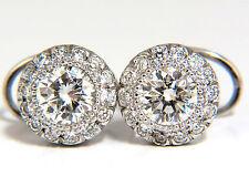 $15000 2.50ct NATURAL DIAMONDS HALO STUD EARRINGS & PROFILE ENCRUSTED 14KT