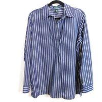 Lauren Ralph Lauren Striped Button Up Shirt Women's size Large Navy White
