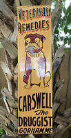 VINTAGE CARSWELL VETERINARY REMEDIES EMBOSSED METAL SIGN PORCELAIN GAS OIL DOG