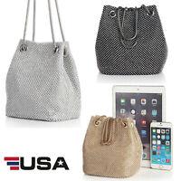 Women's Evening Bag Full Rhinestones Mini Bucket Shining Crossbody Bag Handbags
