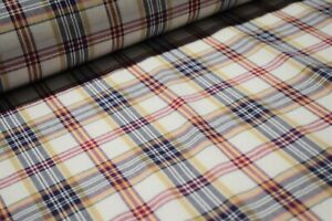 """Tan Plaid 100% Cotton Yarn Dyed 45"""" Wide Fabric By The Yard Great For Mask"""