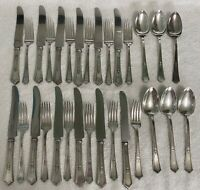 1920 ROGERS LA TOURAINE SILVER PLATE FLATWARE LOT OF 30 pcs KNIVES FORKS SPOONS