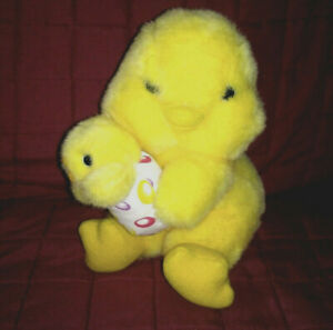 Vintage Avon YELLOW DUCK Soft Fuzzy 8.5in Plush Holding Duckling Cloth Egg 1994