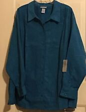 WOMENS CATHERINES BLOUSE TOP SHIRT 4X NWT GREEN SUEDE LIKE BUTTON FRONT 30 32