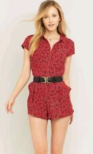 2d23acffc24 Free People Red Debby Dot Floral Print Collared Button Front Romper size  Large L