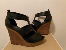 New - Women's Michael Kors Dorinda Black Leather Wedges Size 7
