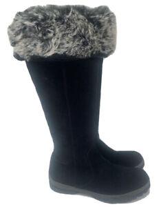 Bos & Co  Size 41 10 10.5 Glacier Black Suede Tall Fur Top Boots Cuff  OTK Tall