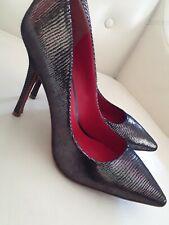 Charles Jourdan Paris Ruth Black Leather Silver Heels Size 10m NWOB