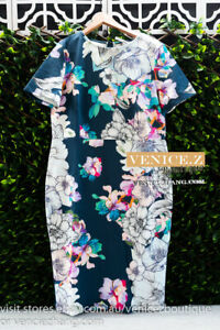 BNWT ASOS Stretchy Pencil Bodycon Floral Dress Size 18