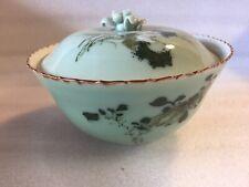 Beautiful Jade Gilt Chinese Bowl & Lid