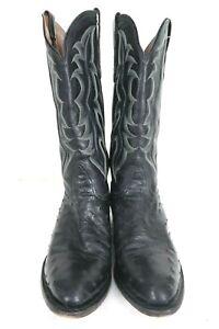 Nocona Mens Full Quill Ostrich Black Leather Roper Cowboy Boots sz 10 D