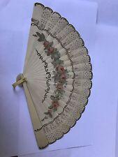 Antiguo Pintados A Mano Ventilador Imitación Marfil Victoriano o Eduardiano Damas