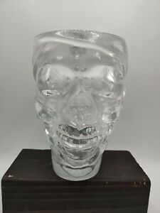 "Pirate Crystal Skull Head Large Glass Beer Drink Mug 6"" x 4"" 30oz"