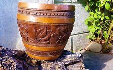 Cache Pot ancien bois cuivre gravé 1930