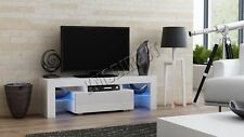 FoxHunter High Gloss Matt TV Cabinet Unit Stand White RGB LED Light Home TVC06