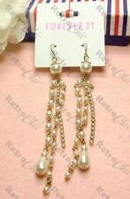 """4""""long CREAM PEARL&CRYSTAL chandelier TASSLE EARRINGS gold pl VINTAGE style"""