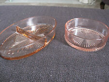 Two pink depression glass dishes, 1 oval 1 round great for relishes or dips