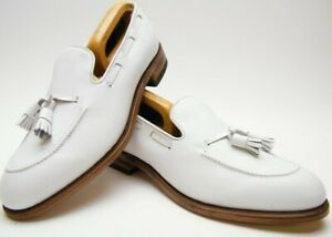 NEW VTG MENS FOOTJOY 73486 ALL WHITE TASSEL LEATHER LOAFER DRESS SHOES 9.5~1/2 C